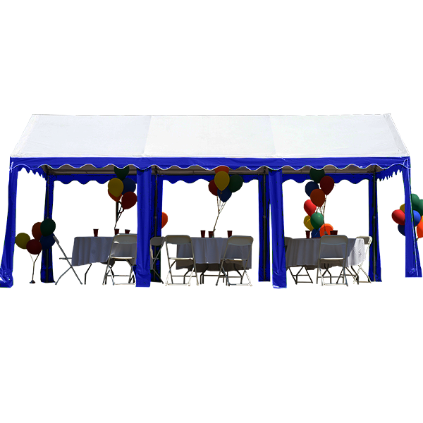 "10' X 20' / 1.5"" Dia. Frame Garden Party Tent with Blue/White Color"