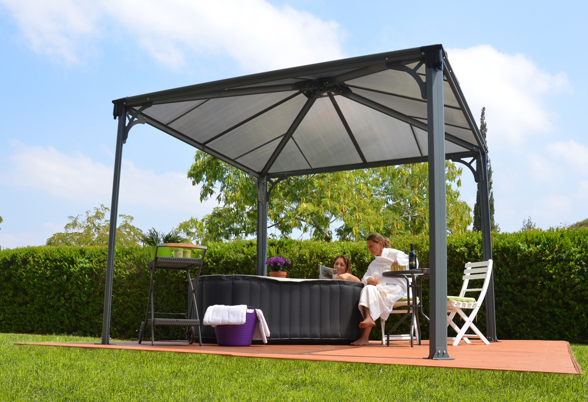 10ft x 10ft palermo 3000 gazebo w polycarbonate panels gazebo canopies canopy mart. Black Bedroom Furniture Sets. Home Design Ideas
