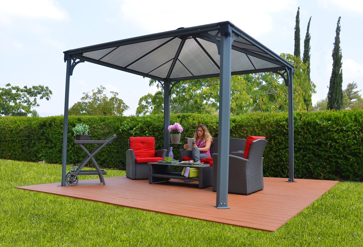12ft x 12ft palermo 3600 gazebo w polycarbonate panels outdoor canopy canopy mart. Black Bedroom Furniture Sets. Home Design Ideas