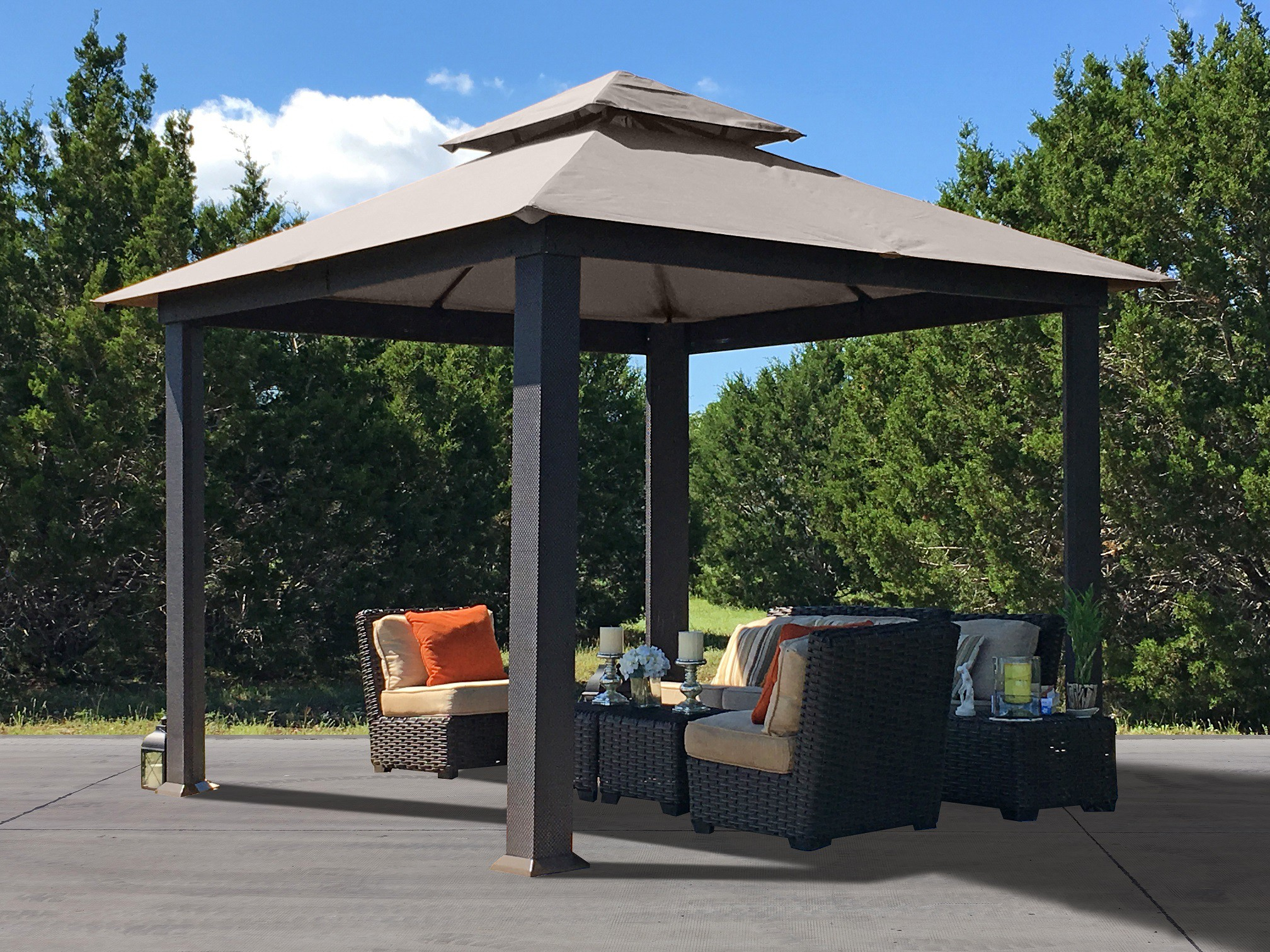 STC 10ft X 10ft Gazebo with Textiline Canopy & Outdoor Canopies - Pop Up Canopy Portable Shade Carports ...
