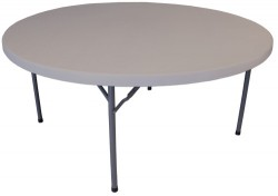 63 Inch Round Plastic Folding Table - 2 Units
