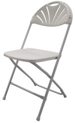 White Fan Back Steel Folding Chair with Poly Seat and Back - 6 Units