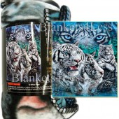 White Tiger Camping Fleece Throw Blanket