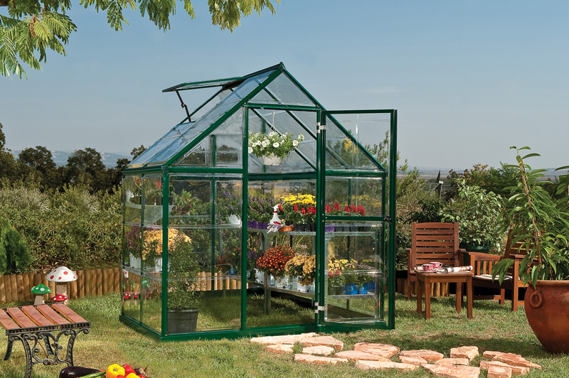 6 X 4 Harmony - Clear Glazing GreenHouse Green