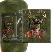 Hunting Buckley Camping Fleece Throw Blanket